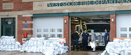 fire department with sandbags