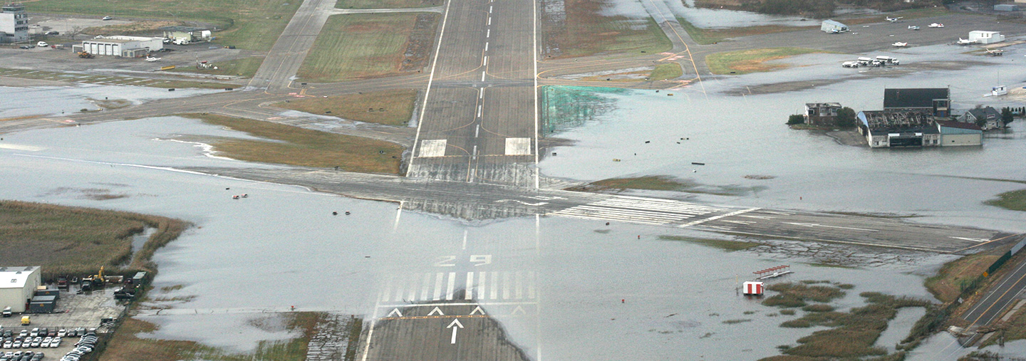 flooded airport runway